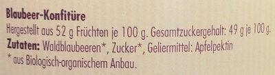 Blaubeer-Konfitüre - Ingredients - de