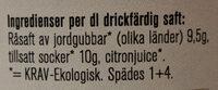 Ekologisk Jordgubbssaft - Ingredients