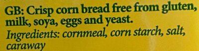 spröda majsbröd - Ingrédients - en