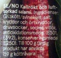 Cabanossi - Ingrediënten - sv