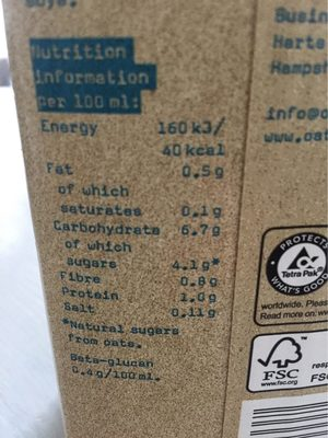 Lait d'avoine - Nutrition facts