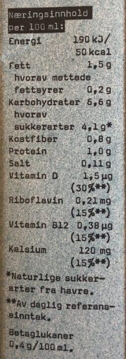 Havre drikk kalsium - Informations nutritionnelles - fr