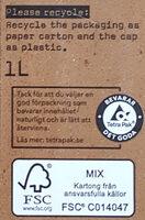 OATLY Havredryck choklad - Instruction de recyclage et/ou informations d'emballage - sv