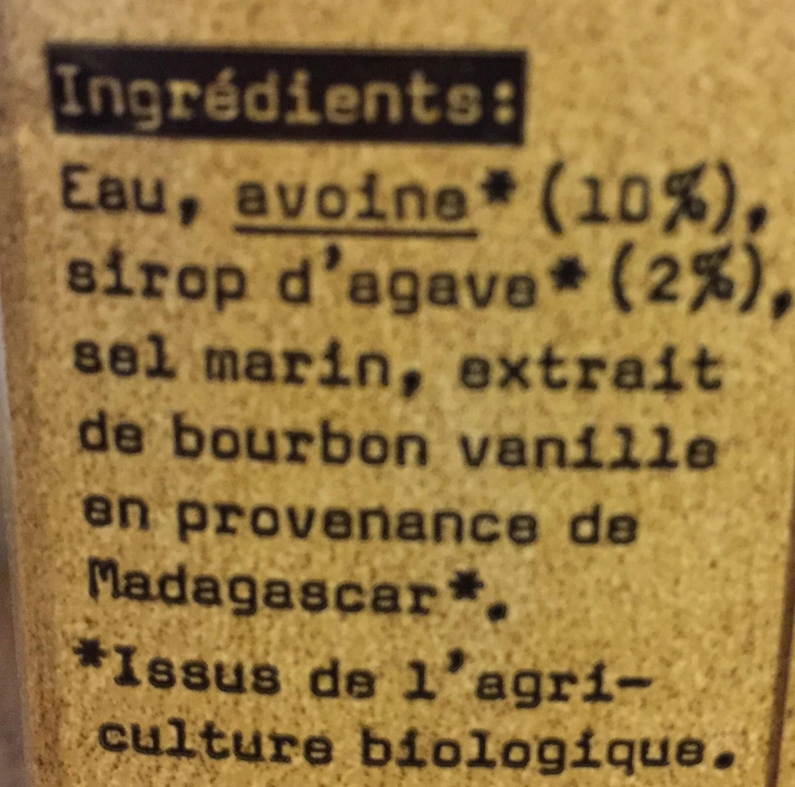Lait Avoine Vanille Bio - Ingrédients - fr