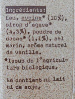 Oatly avena cacao bio - Ingrédients