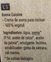 Avoine Cuisine Bio - Ingredientes - es