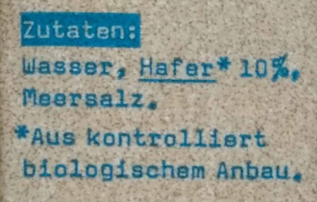 Oatly Haferdrink Original - Ingredienti - de