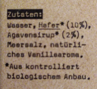 Oatly Haferdrink Vanille Bio - Ingrediënten - de