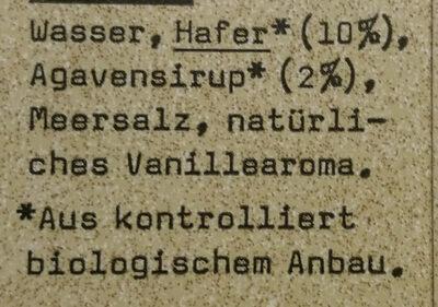 Oatly Haferdrink Vanille Bio - Ingrédients - fr