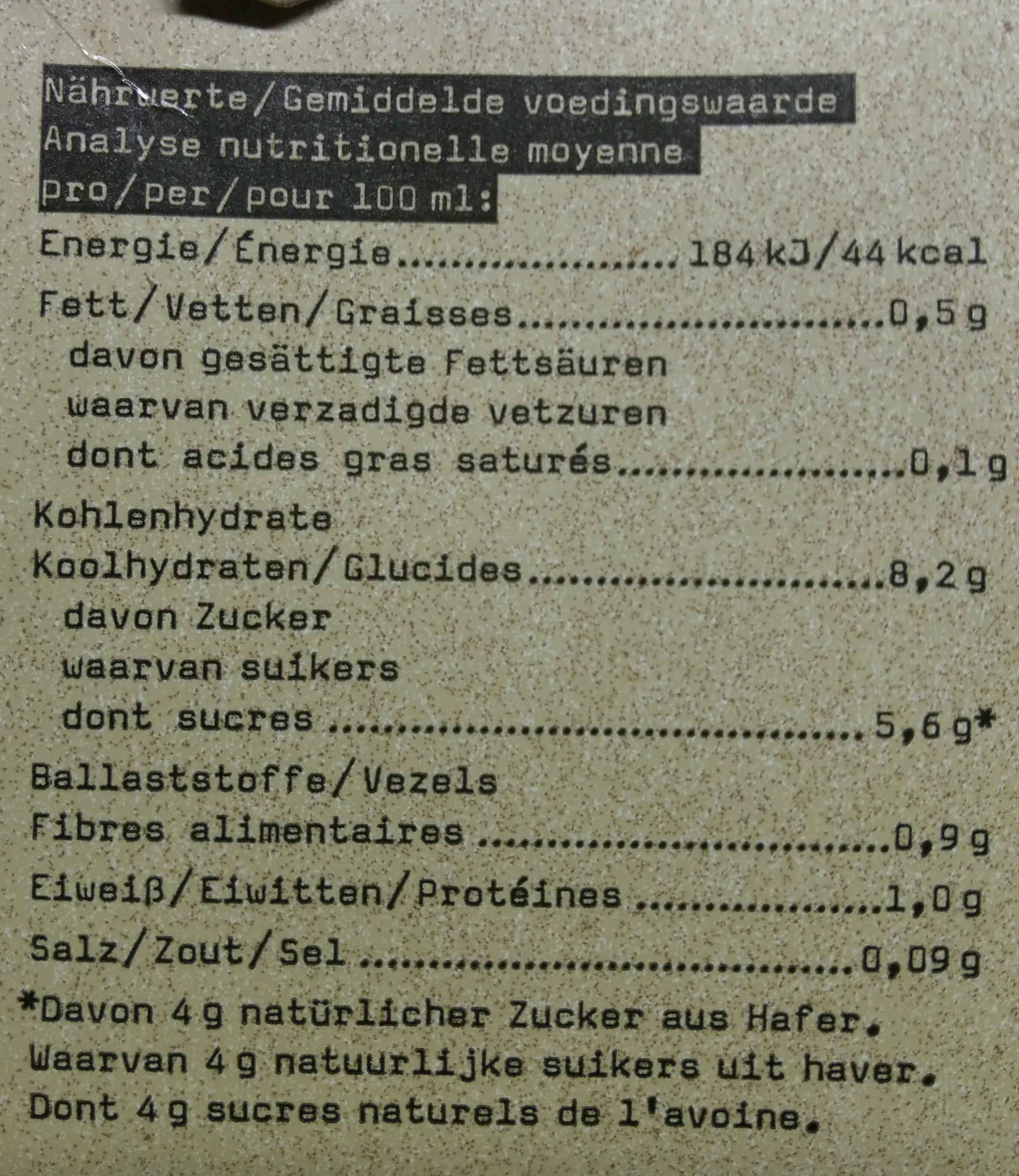 Oatly Haferdrink Vanille Bio - Informations nutritionnelles - fr