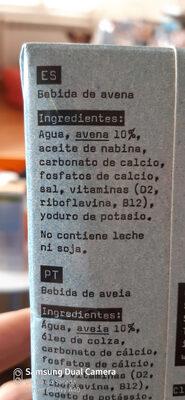 Bebida de avena enriquecida con calcio y vitaminas - Ingrédients - es