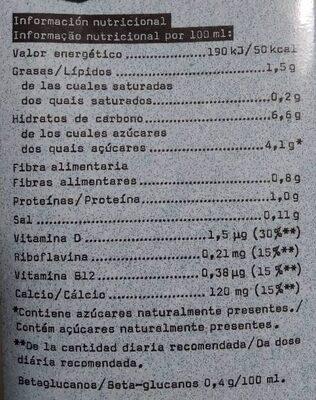 Bebida de avena enriquecida con calcio y vitaminas - Informations nutritionnelles - es
