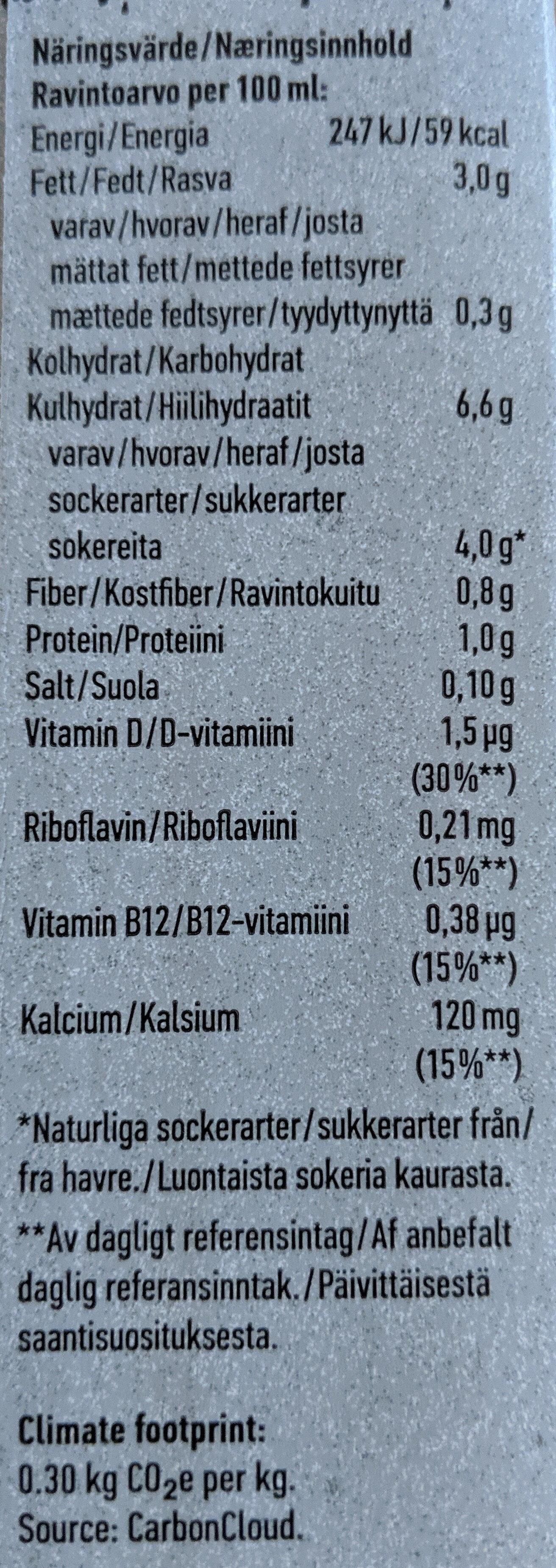 Oatly! ikaffe - Nutrition facts - sv