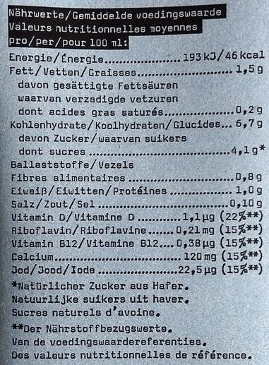 Hafer Calcium - Voedingswaarden - de