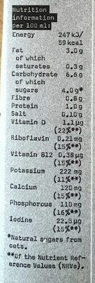 Oatly Barrista - Informations nutritionnelles - en