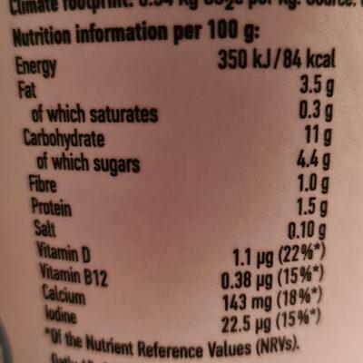 Oatgurt plain - Nutrition facts
