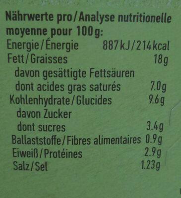 Cremiger Aufstrich Gurke & Knoblauch - Nutrition facts - en