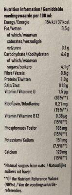 Oatly skinny oat milk - Informations nutritionnelles - en