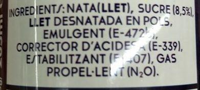 Nata muntada - Ingredientes