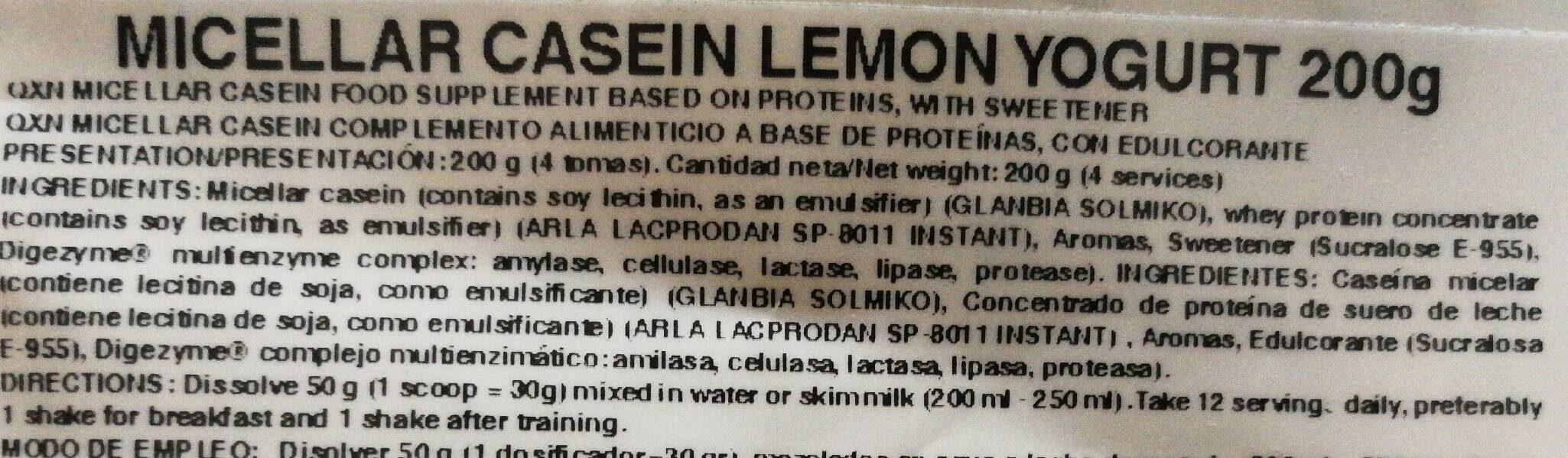Miscellar casein - Informations nutritionnelles