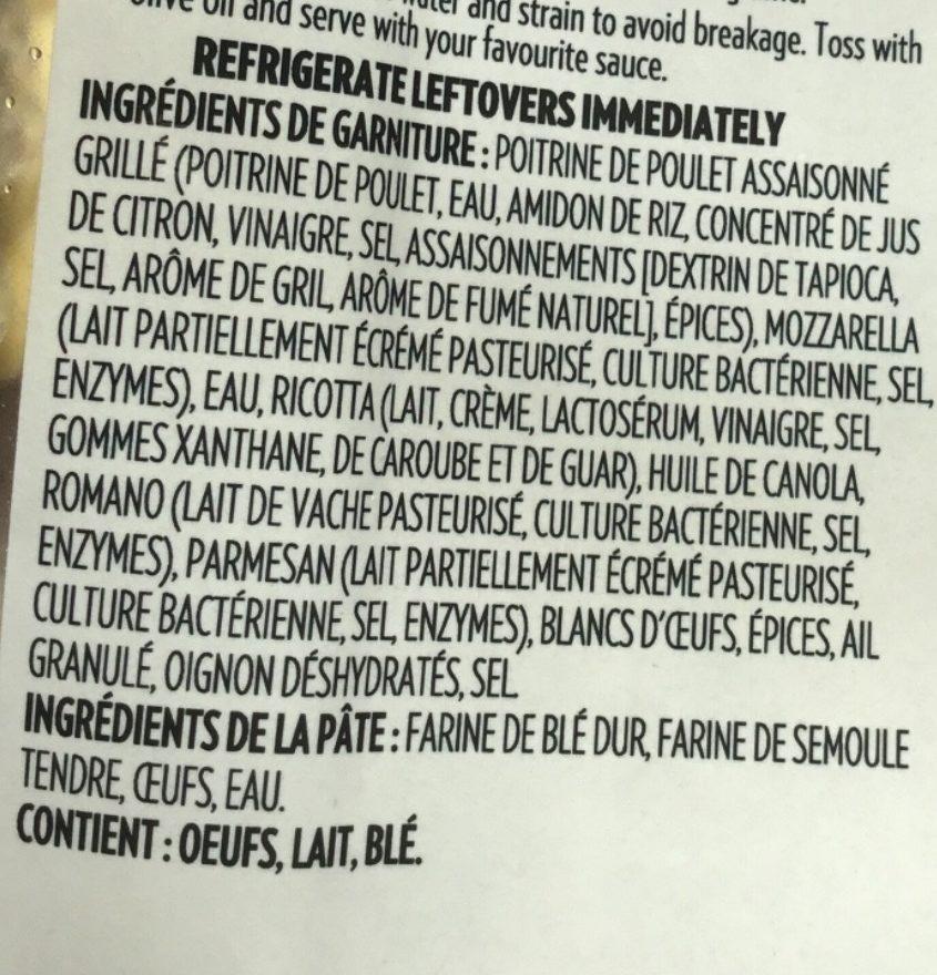 Ravioli de poulet grillé et mozzarella - Ingredients
