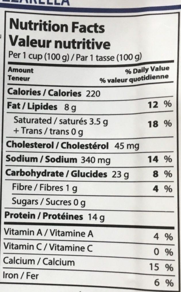 Ravioli de poulet grillé et mozzarella - Nutrition facts