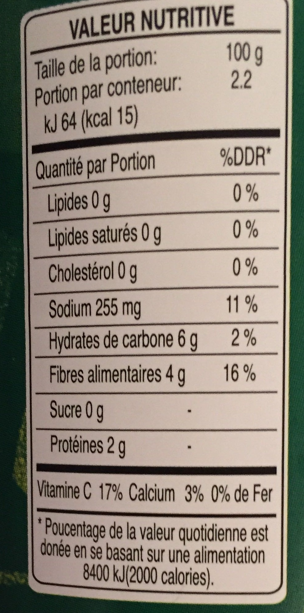 Coeur de Palmier Médaillons - Nutrition facts - fr