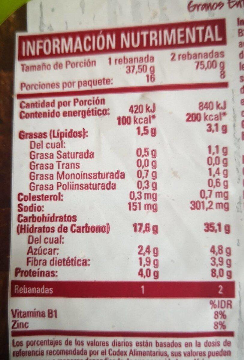 Pan Vital Fruticereal Bimbo - Informations nutritionnelles - en