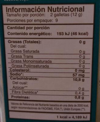 galleta de arroz con quinoa y sal - Nutrition facts - es