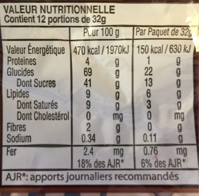 Cream Cookies Chocolate - Informations nutritionnelles