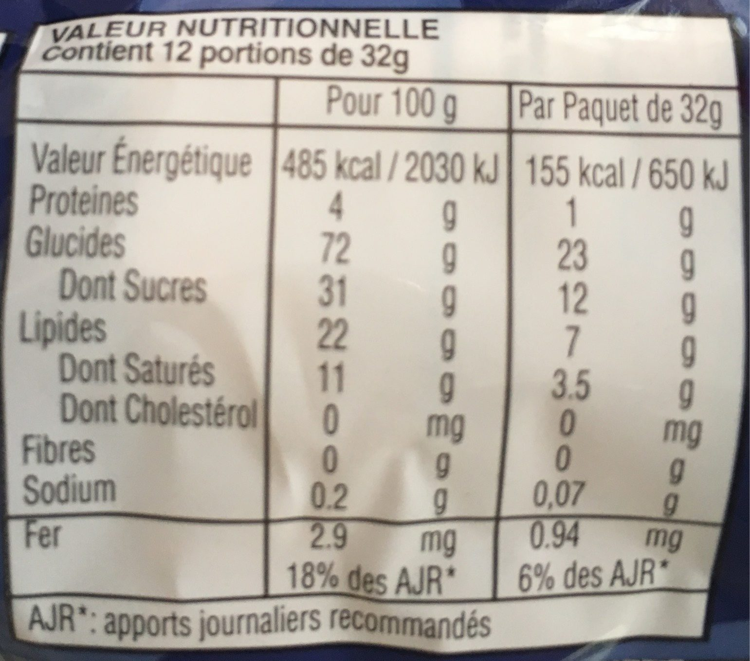 Cream Cookies Vanille - Nutrition facts