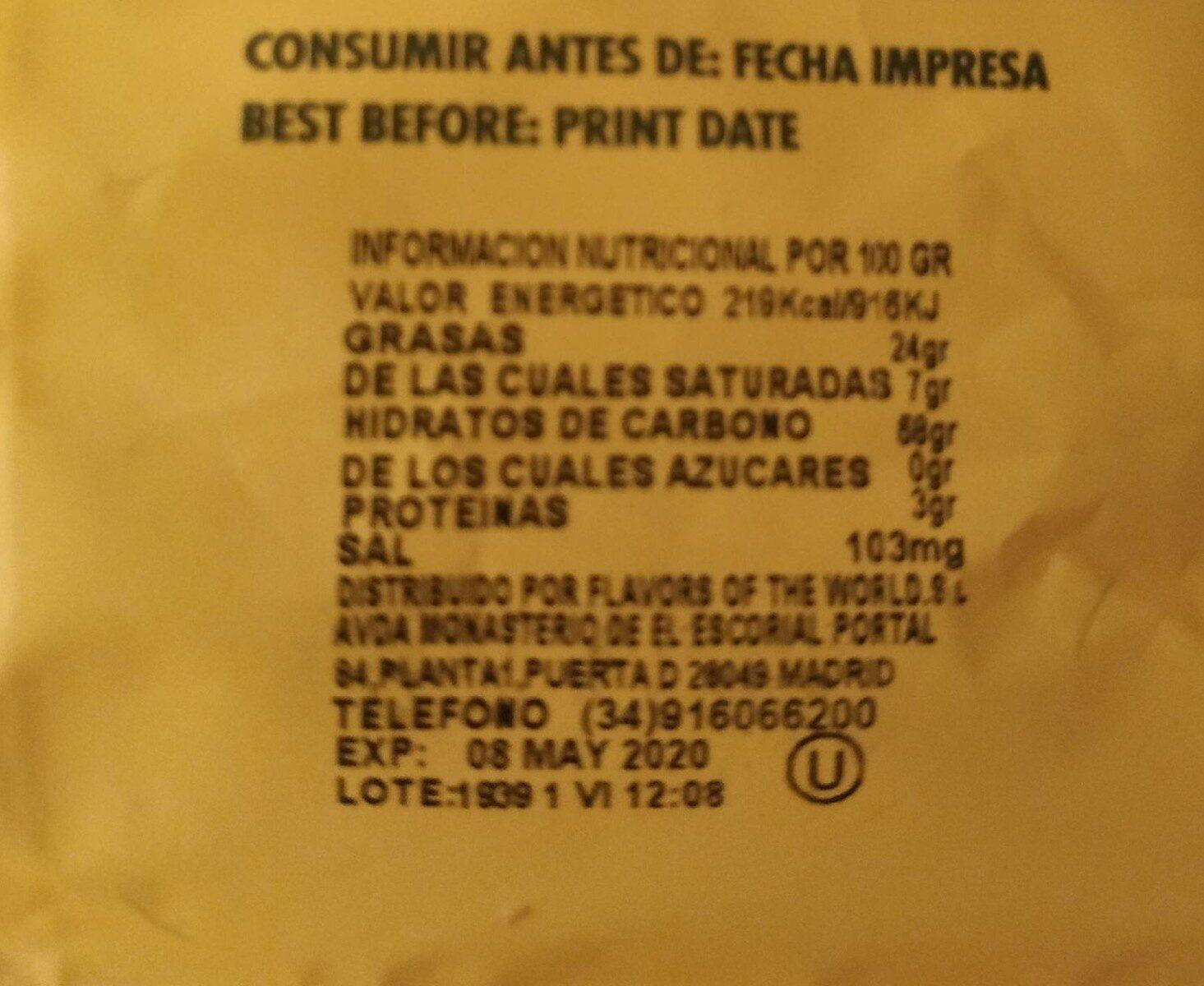 Platanitos - Información nutricional