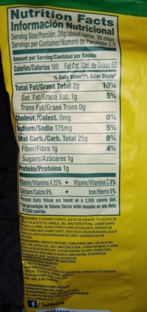 Platanitos con limón natural - Información nutricional - es