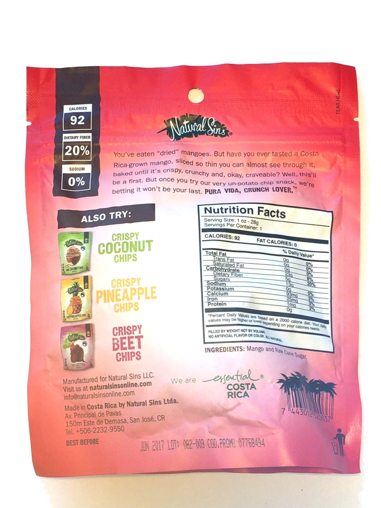 Crispy Mango Chips - Nutrition facts