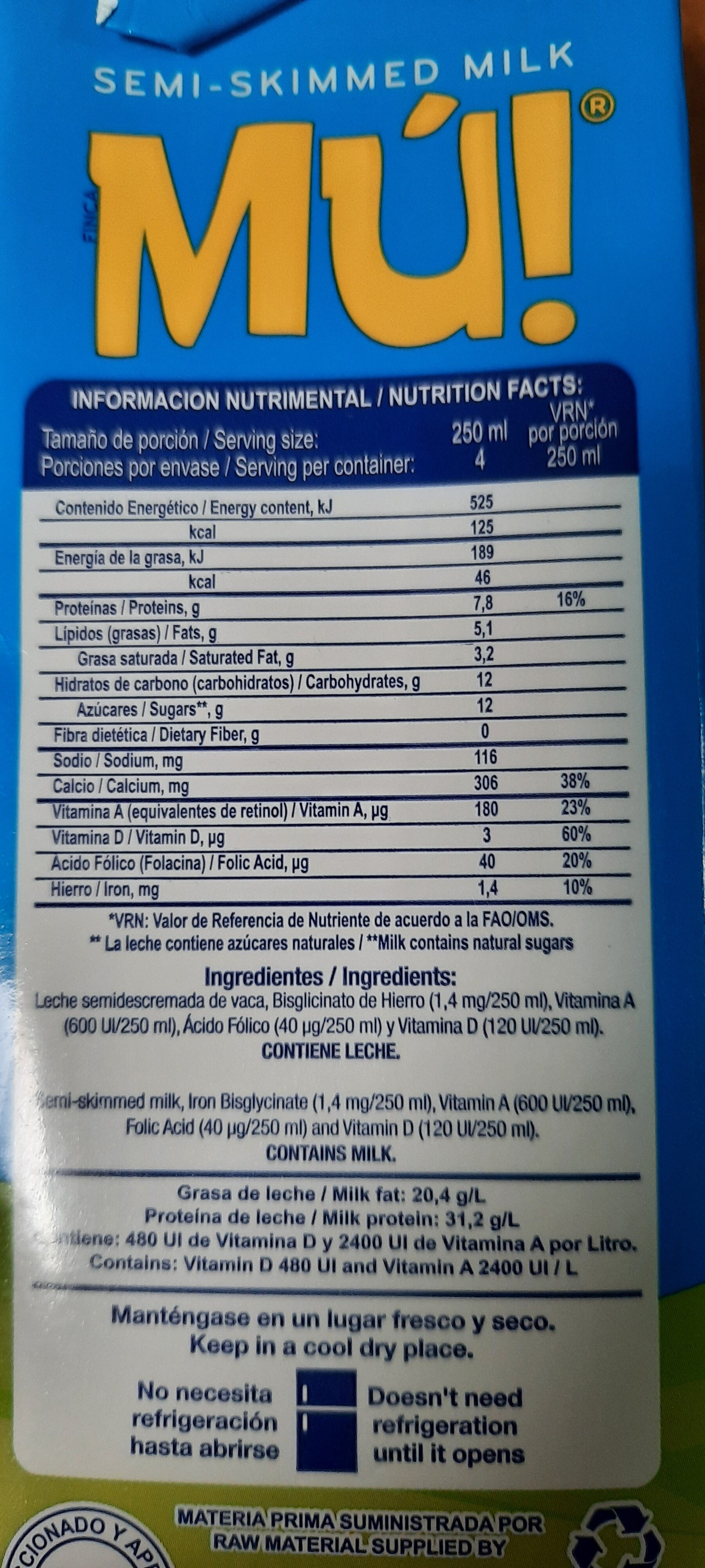 Leche Mú - Nutrition facts - es