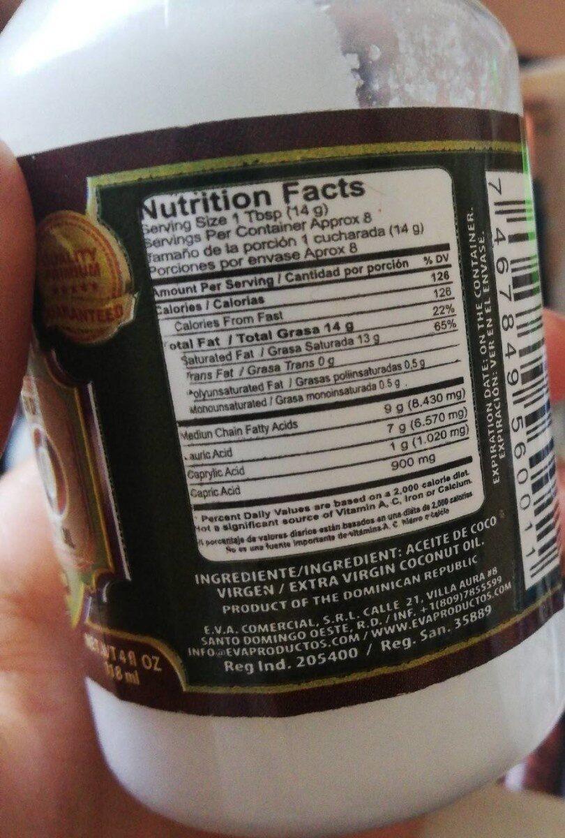 Eva Coconut Oil 4 FL Oz - 4 FL Oz - Nutrition facts - fr