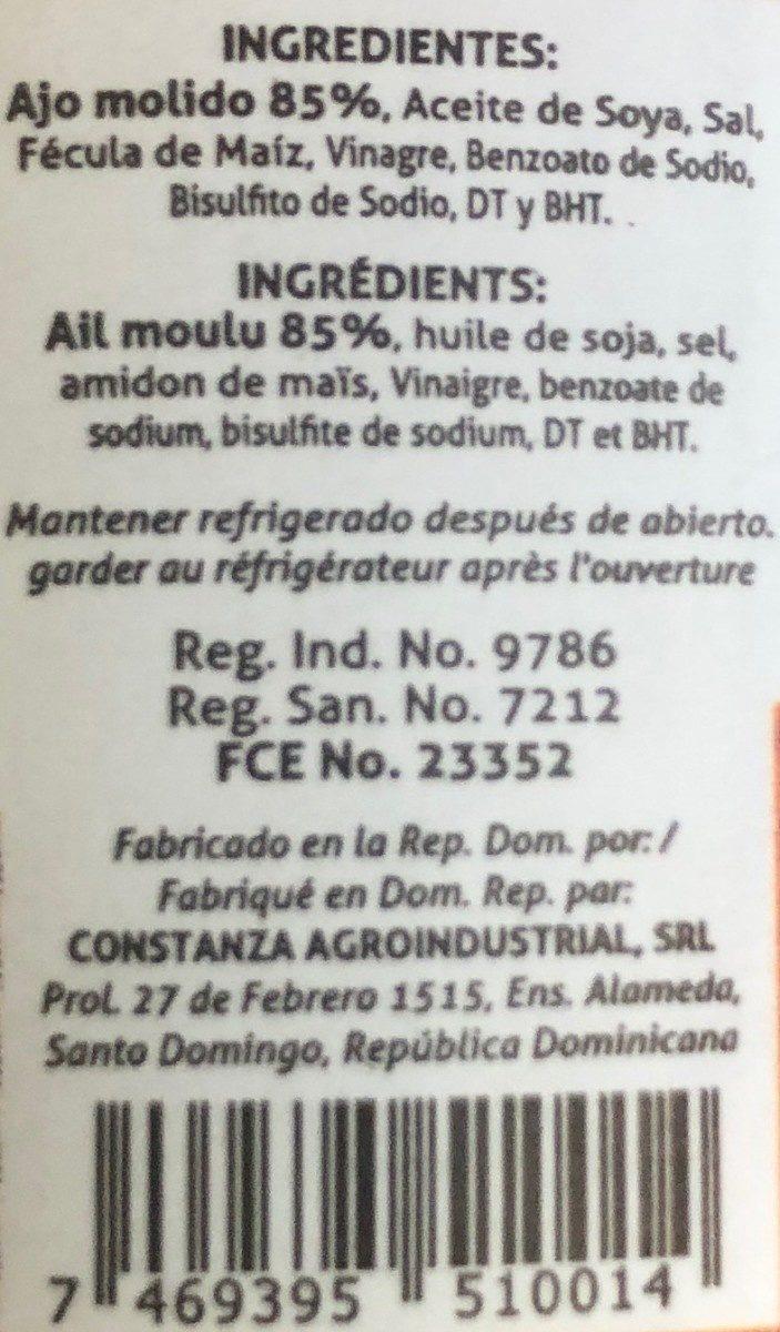 Constanza Ajo En Pasta - Ingrédients - fr