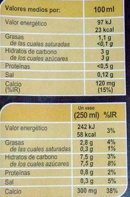 Bebida de almendra tostada Calcio - Información nutricional