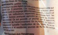 Carotte de hesbaye - Ingrédients - fr