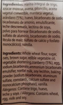 galletas de avena con arándano - Ingredients