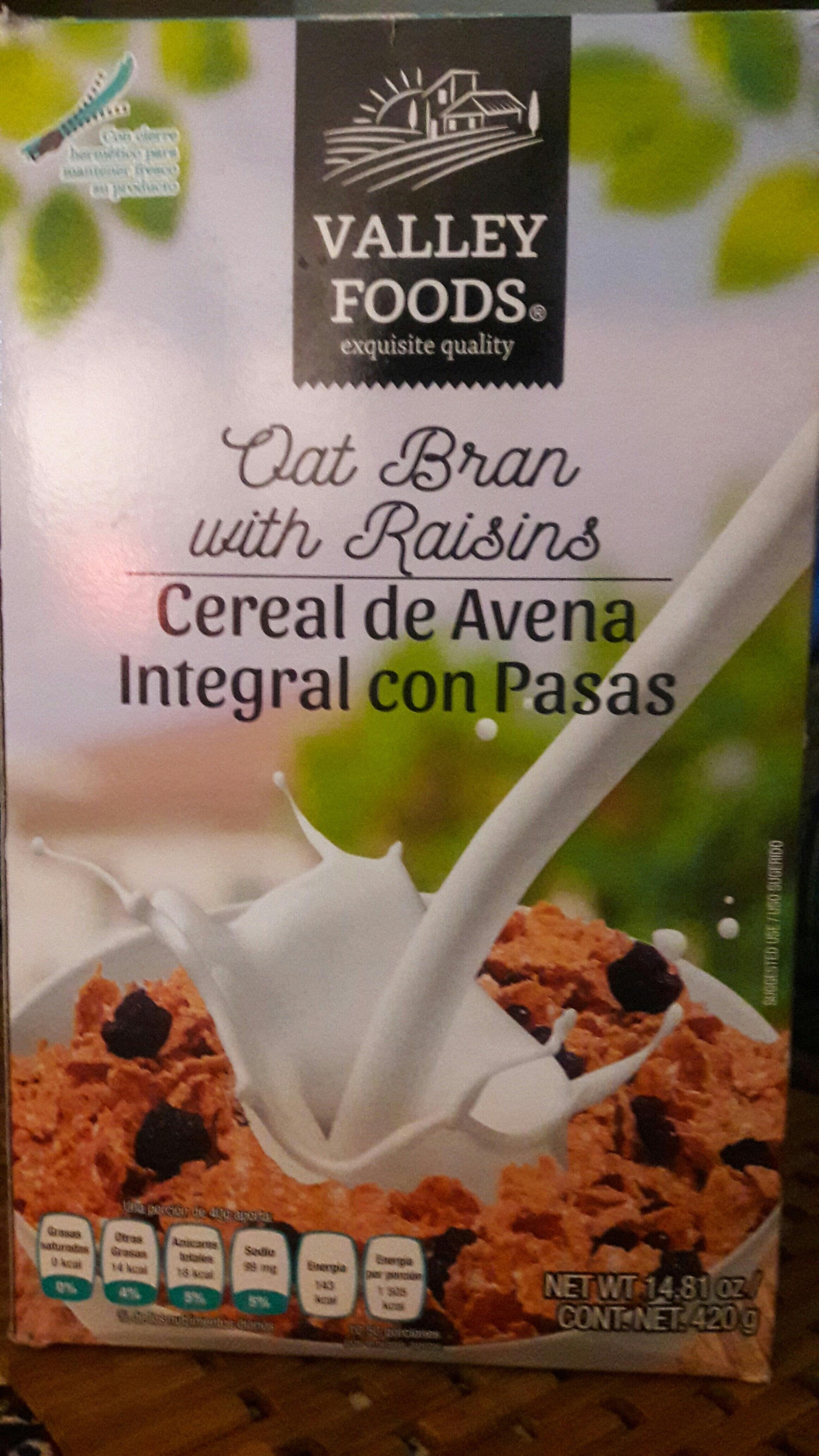 cereal de avena integral con pasas - Product - es