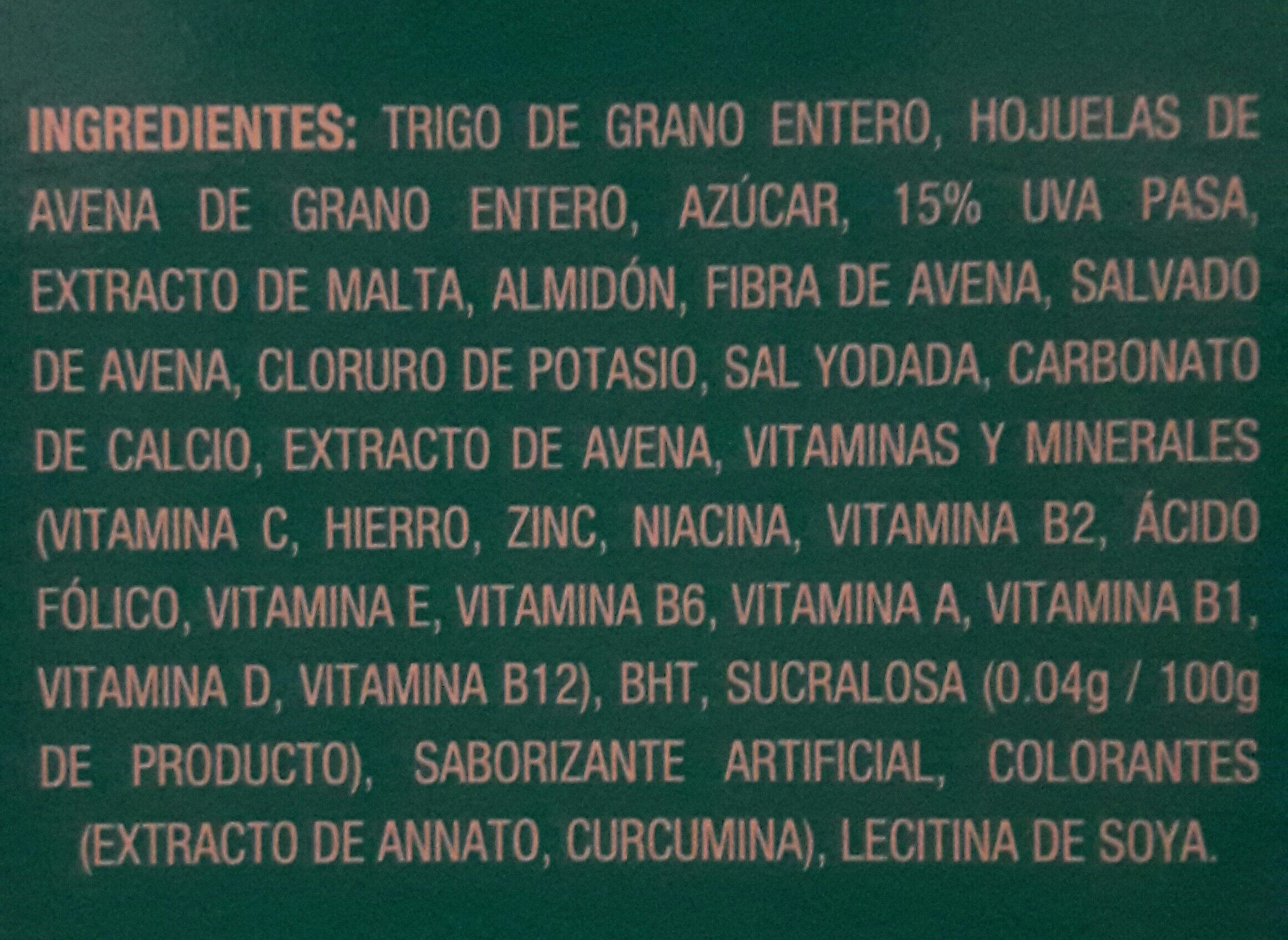 cereal de avena integral con pasas - Ingrediënten - es