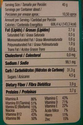 cereal de avena integral con pasas - Voedingswaarden - es