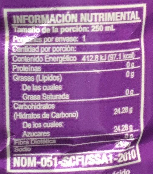 Chaparritas sabor Uva - Información nutricional - es