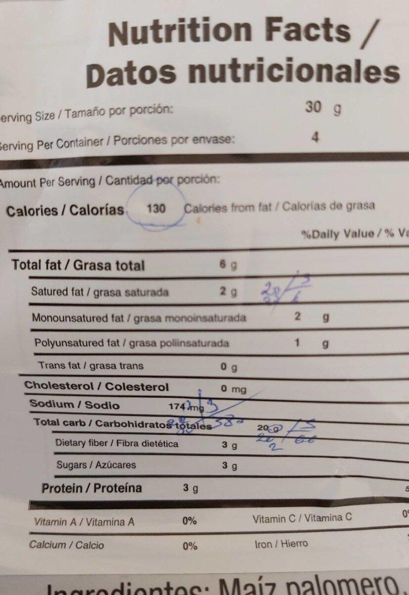 Palomitas de maíz - Información nutricional - en