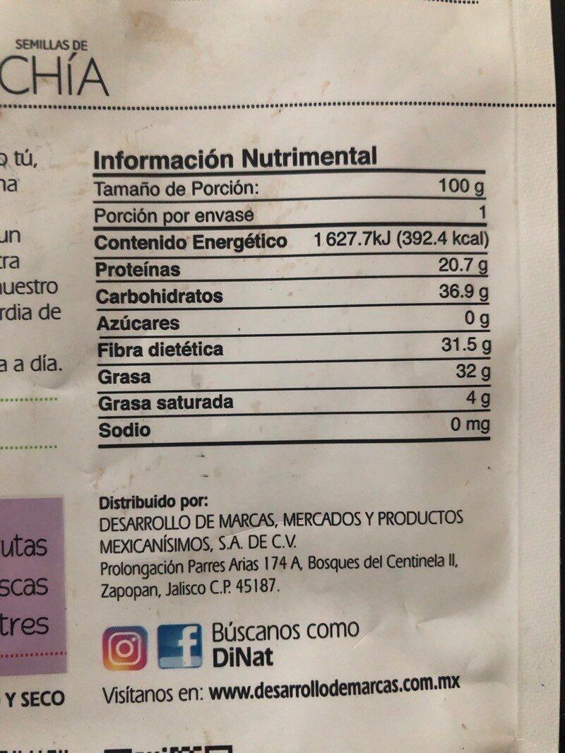 Semillas de chía - Informations nutritionnelles - es