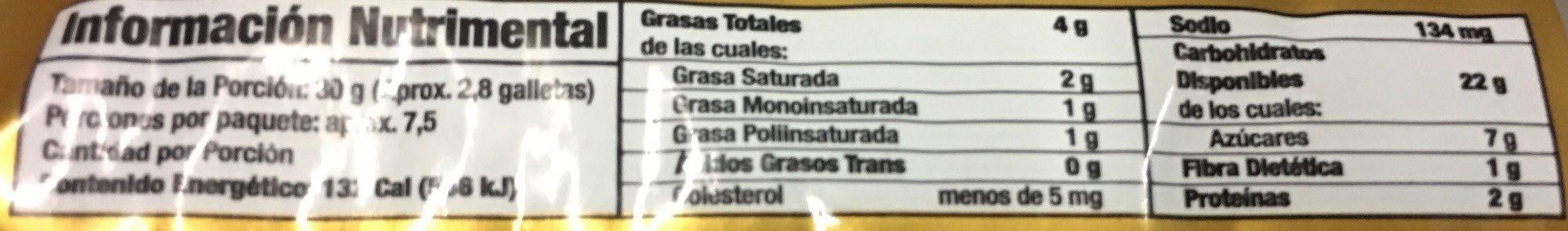 Doradas de Marías - Nutrition facts - es