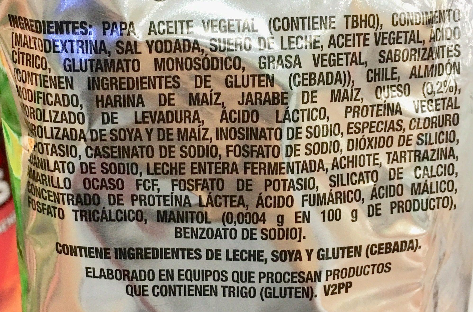 Ruffles Queso - Ingrédients - es