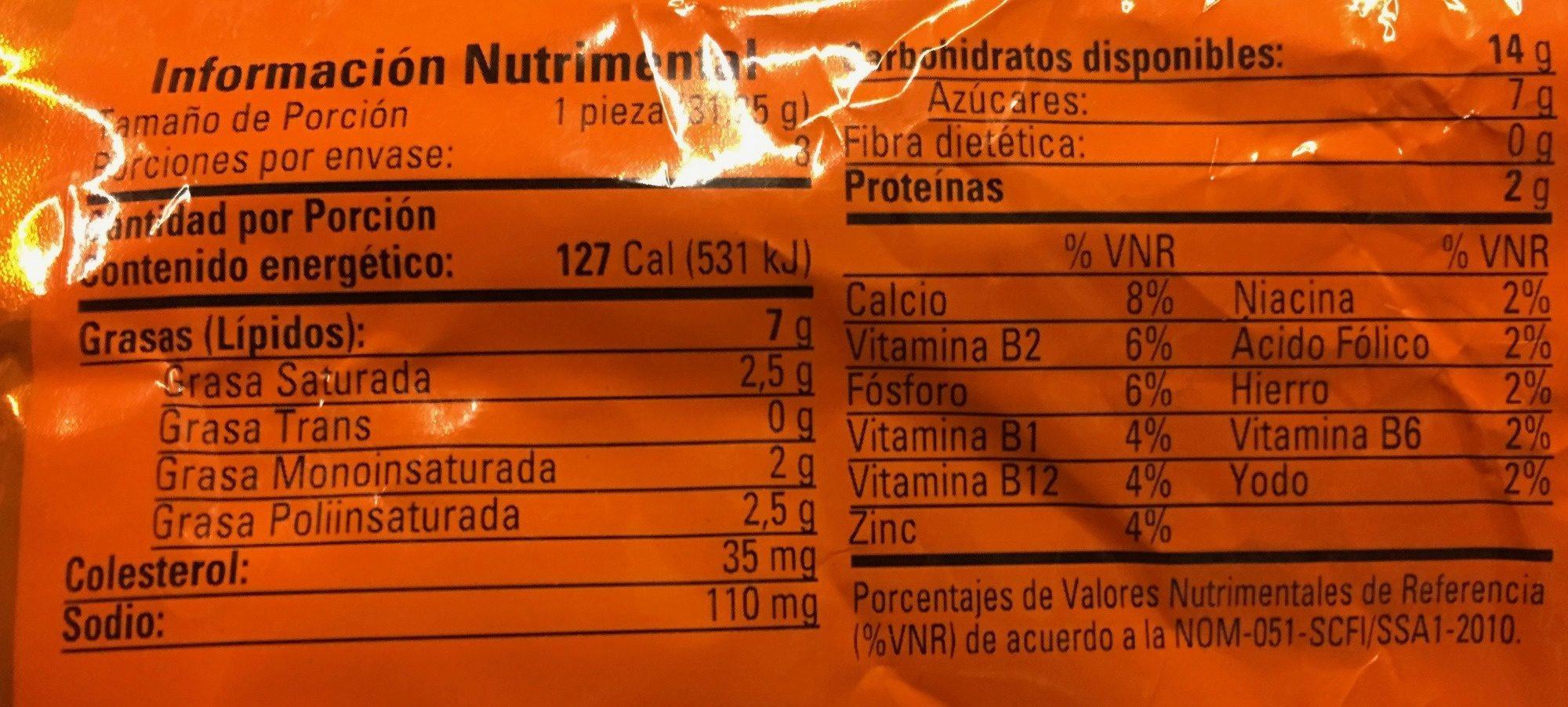 Mantecadas sabor vainilla - Nutrition facts
