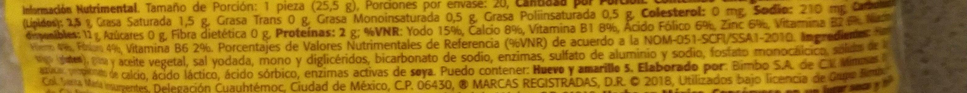 Tortillinas - Ingrédients - es
